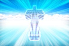 Cross in a abstract blue heavens Stock Photos