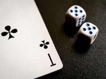 Cross ace and two dice royalty free stock photography