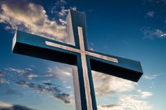 Cross against on blue sky. Close up Royalty Free Stock Photos