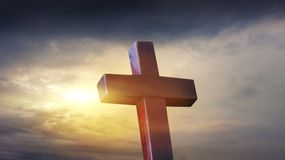 Christian cross on sunset background . Religion background . Paradise heaven . Light in sky . Cross against the sky . Happy Easter . solar explosion stock image