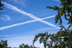 Cross. Airplanes crossing their paths in the sky Stock Photography