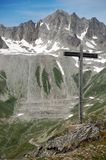 Cross in the Alps. Wooden cross in the high Alps royalty free stock photos