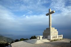 Cross with altar on the hill above Dubrovnik Royalty Free Stock Image