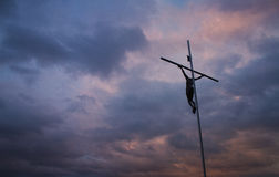 Cross and amazing sky. Stock Image