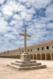 Cross And Old Monastery Royalty Free Stock Photos