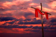 Cross And Tunic On A Sunset Stock Photo
