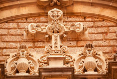 Cross Angel Statues Monastery Montserrat Spain Stock Image