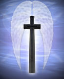 Cross and angel wings Stock Photos