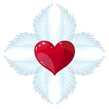 Cross- angel wings and a heart in the middle Royalty Free Stock Photography