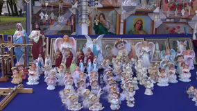 Cross, angels and other religious objects in fair Stock Image