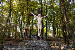 Cross on Apparition hill. Wooden Crucifixion Cross on Mount Podbrdo, the  Apparition hill overlooking the village of Medjugorje in Bosnia ed Erzegovina Royalty Free Stock Photos