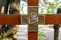 Cross on Apparition hill. Wooden Cross on Mount Podbrdo, the  Apparition hill overlooking the village of Medjugorje in Bosnia ed Erzegovina Royalty Free Stock Photos