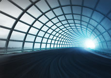 Cross arch construction tunnel along speed track Royalty Free Stock Images
