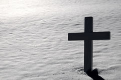 Cross at Arlington Cemetery in Winter Stock Photography