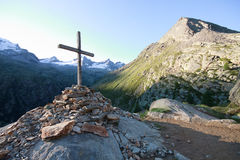 Cross Arolley. In the background the Gran Paradiso Royalty Free Stock Image