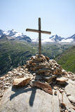 Cross Arolley. In the background the Gran Paradiso Stock Image