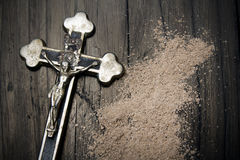 Cross and ash - symbols of Ash Wednesday Stock Photos