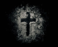 Cross in the ashes Royalty Free Stock Photo