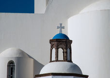 Cross atop a dome of a Greek Orthodox church Royalty Free Stock Image