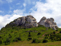The cross on the background of clear sky at the top Biaklo (or M Royalty Free Stock Images