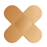 Cross band aid. Two illustrated band aids cross with a drop shadow Royalty Free Stock Image