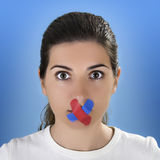 Cross Bandage on the mouth Stock Images