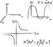 Cross-bars. Graphs and formulae Royalty Free Stock Photos