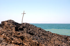Cross at beach. Cross in rock at the beach stock images