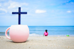 Cross on the beach. Royalty Free Stock Image