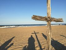 Cross on beach. At wedding ceremony. Taken at Sandbridge beach in Virginia Beach, VA Stock Image