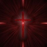 Cross with beams. Glowing red cross with beams vector illustration