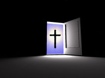 Cross. Belief beside. The three-dimensional image of a cross behind a door, belief always beside stock illustration