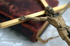 Cross on Bible. For praying to God and Jesus Royalty Free Stock Photo