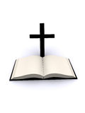 Cross and bible. Render illustration of cross with bible Royalty Free Stock Image