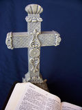 Cross and Bible. Photo of cross with bible Royalty Free Stock Photos
