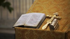 Cross and Bible in church. Cross and Bible book in church stock video