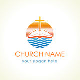 Cross and bible christian vector logo. Royalty Free Stock Images