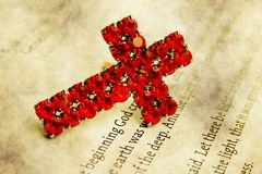 Cross on bible. Close up of Cross on bible Royalty Free Stock Photography