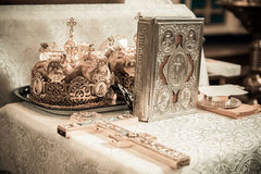 Cross and bible Crown. Cross, bible and crowns for the Orthodox Royalty Free Stock Images