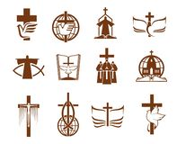 Free Cross, Bible, Dove And Priest, Religion Icons Stock Images - 160520744