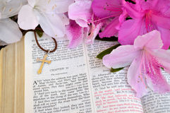 Cross and Bible, Mark 16 Easter background stock photography