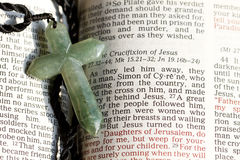 Cross and Bible. The cross on a bible passage royalty free stock photography
