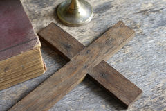 Cross and bible religion concept. Cross and bible abstract religion concept Stock Photography