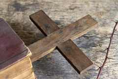 Cross and bible religion concept. Cross and bible abstract religion concept Royalty Free Stock Images