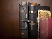 Cross and Bibles Royalty Free Stock Photo
