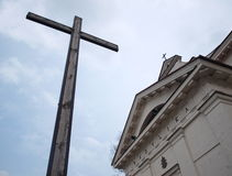 Cross in Bielsk. Cross and catholic basilica in Bielsk Podlaski Stock Images