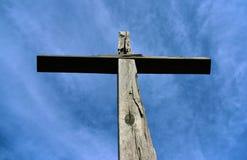 Cross on big rock. Near village Svaty Jan pod Skalou Stock Photography