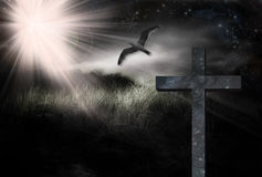 Cross and Bird Landscape Royalty Free Stock Photo