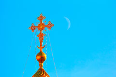 Cross of Blagoveschenskiy cathedral in Moscow Stock Photo