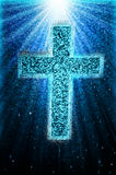 Cross Blue Aglow Abstract Stock Photo